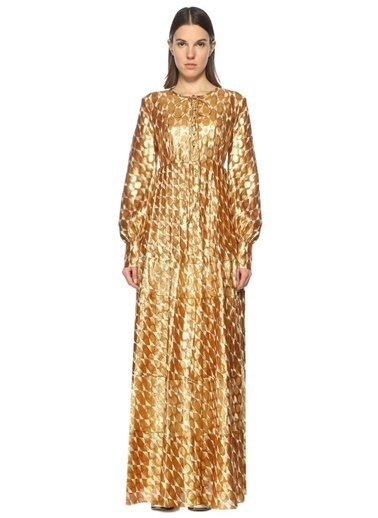 Geometrik Desen Uzun Elbise-Tory Burch